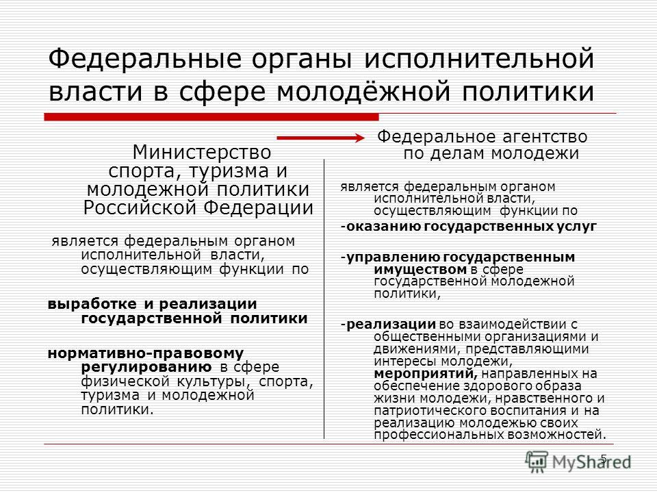 5 Федеральные органы исполнительной власти в сфере молодёжной политики Министерство спорта, туризма и молодежной политики Российской Федерации является федеральным органом исполнительной власти, осуществляющим функции по выработке и реализации госуда