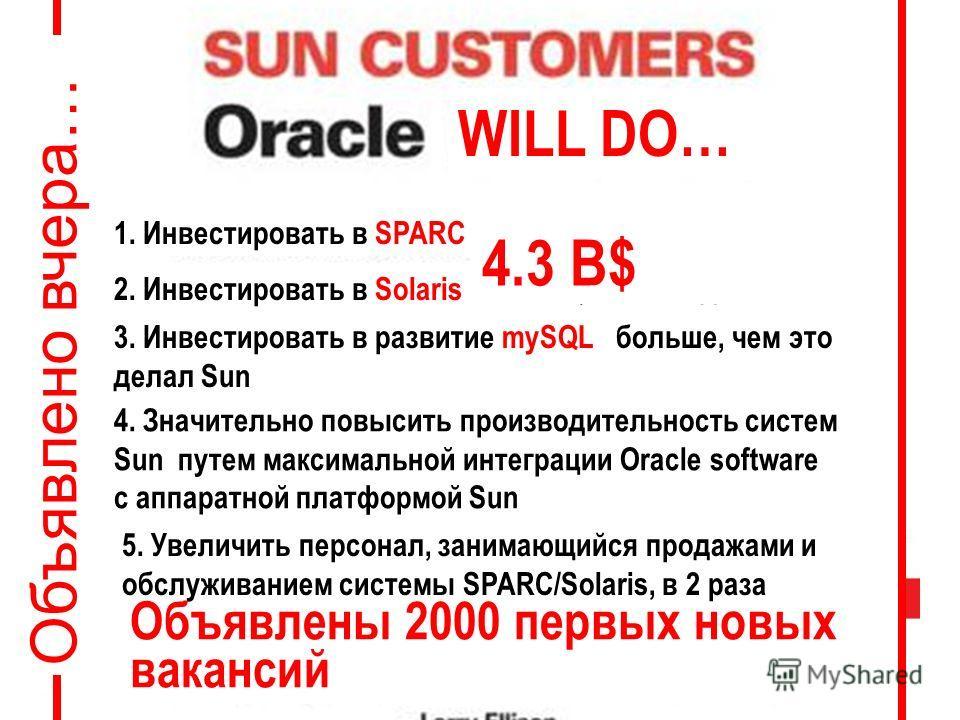 1. Инвестировать в SPARC больше, чем это делал Sun 2. Инвестировать в Sоlaris больше, чем это делал Sun 3. Инвестировать в развитие mySQL больше, чем это делал Sun 4. Значительно повысить производительность систем Sun путем максимальной интеграции Or