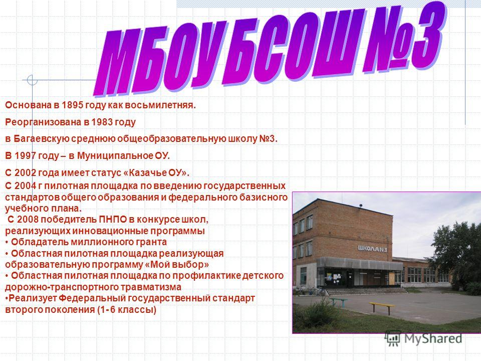 Основана в 1895 году как восьмилетняя. Реорганизована в 1983 году в Багаевскую среднюю общеобразовательную школу 3. В 1997 году – в Муниципальное ОУ. С 2002 года имеет статус «Казачье ОУ». С 2004 г пилотная площадка по введению государственных станда