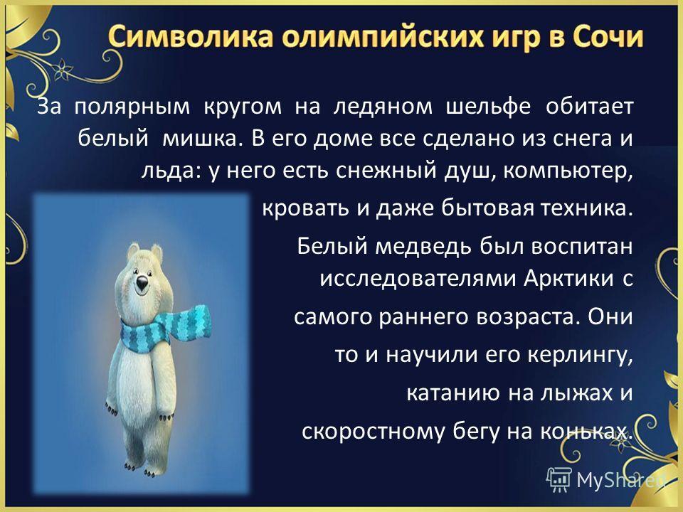 За полярным кругом на ледяном шельфе обитает белый мишка. В его доме все сделано из снега и льда: у него есть снежный душ, компьютер, кровать и даже бытовая техника. Белый медведь был воспитан исследователями Арктики с самого раннего возраста. Они то