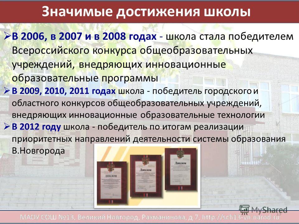 Значимые достижения школы В 2006, в 2007 и в 2008 годах - школа стала победителем Всероссийского конкурса общеобразовательных учреждений, внедряющих инновационные образовательные программы В 2009, 2010, 2011 годах школа - победитель городского и обла