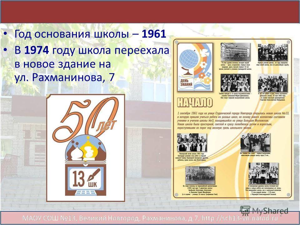 Год основания школы – 1961 В 1974 году школа переехала в новое здание на ул. Рахманинова, 7 2