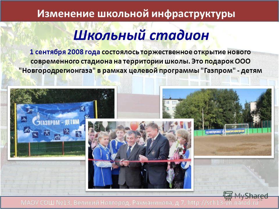 Школьный стадион 1 сентября 2008 года состоялось торжественное открытие нового современного стадиона на территории школы. Это подарок ООО Новгородрегионгаза в рамках целевой программы Газпром - детям Изменение школьной инфраструктуры 24