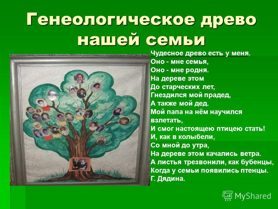 Генеологическое древо нашей семьи Чудесное древо есть у меня. Оно - мне семья, Оно - мне родня. На дереве этом До старческих лет, Гнездился мой прадед, А также мой дед. Мой папа на нём научился взлетать, И смог настоящею птицею стать! И, как в колыбе