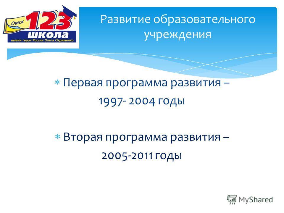Первая программа развития – 1997- 2004 годы Вторая программа развития – 2005-2011 годы Развитие образовательного учреждения
