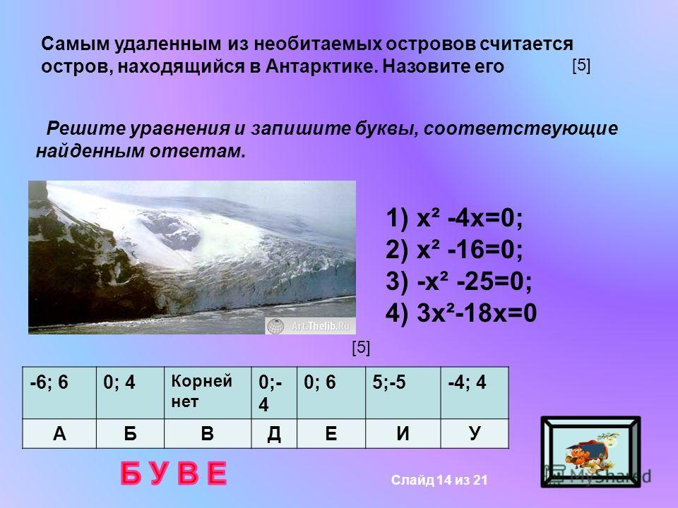 Самым удаленным из необитаемых островов считается остров, находящийся в Антарктике. Назовите его Решите уравнения и запишите буквы, соответствующие найденным ответам. 1) х² -4х=0; 2) х² -16=0; 3) -х² -25=0; 4) 3х²-18х=0 -6; 60; 4 Корней нет 0;- 4 0;