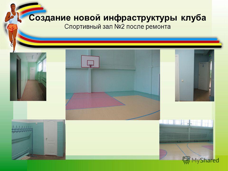 Создание новой инфраструктуры клуба Спортивный зал 2 после ремонта