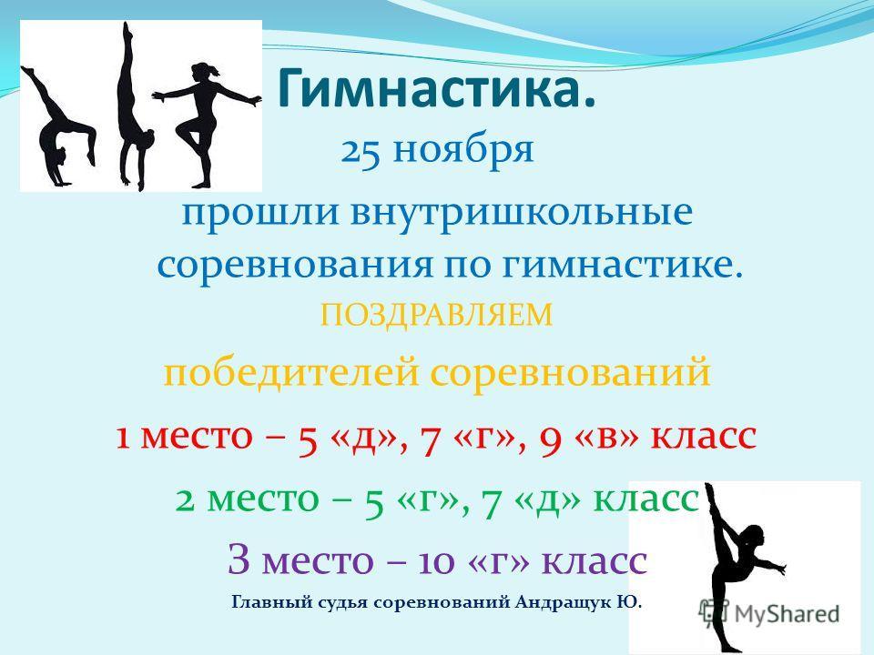 Гимнастика. 25 ноября прошли внутришкольные соревнования по гимнастике. ПОЗДРАВЛЯЕМ победителей соревнований 1 место – 5 «д», 7 «г», 9 «в» класс 2 место – 5 «г», 7 «д» класс З место – 10 «г» класс Главный судья соревнований Андращук Ю.