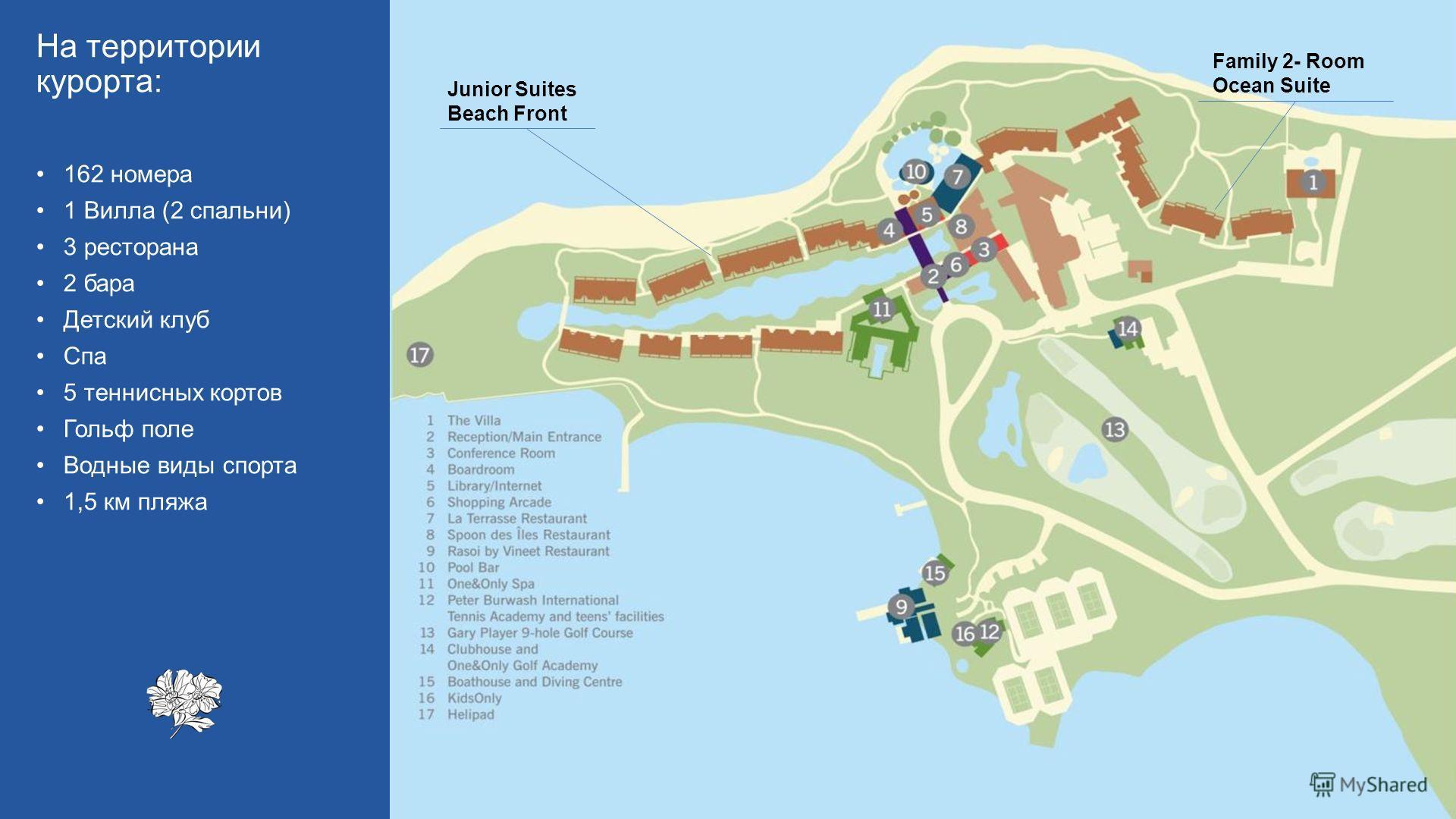 Family 2- Room Ocean Suite Junior Suites Beach Front На территории курорта: 162 номера 1 Вилла (2 спальни) 3 ресторана 2 бара Детский клуб Спа 5 теннисных кортов Гольф поле Водные виды спорта 1,5 км пляжа