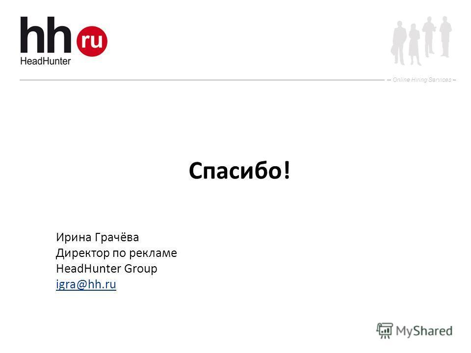 Online Hiring Services Спасибо! Ирина Грачёва Директор по рекламе HeadHunter Group igra@hh.ru