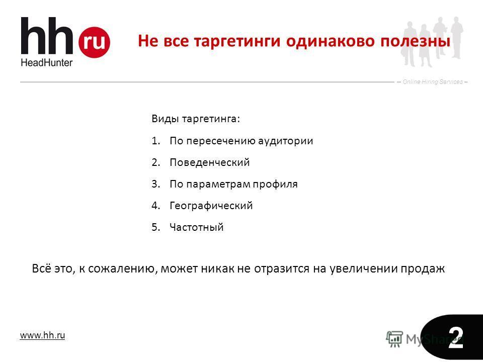 www.hh.ru Online Hiring Services 2 Не все таргетинги одинаково полезны Виды таргетинга: 1.По пересечению аудитории 2.Поведенческий 3.По параметрам профиля 4.Географический 5.Частотный Всё это, к сожалению, может никак не отразится на увеличении прода