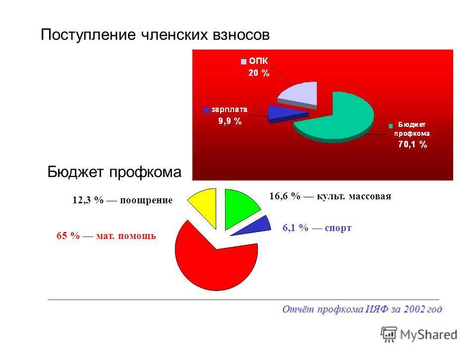 Отчёт профкома ИЯФ за 2002 год Поступление членских взносов Бюджет профкома 65 % мат. помощь 16,6 % культ. массовая 12,3 % поощрение 6,1 % спорт