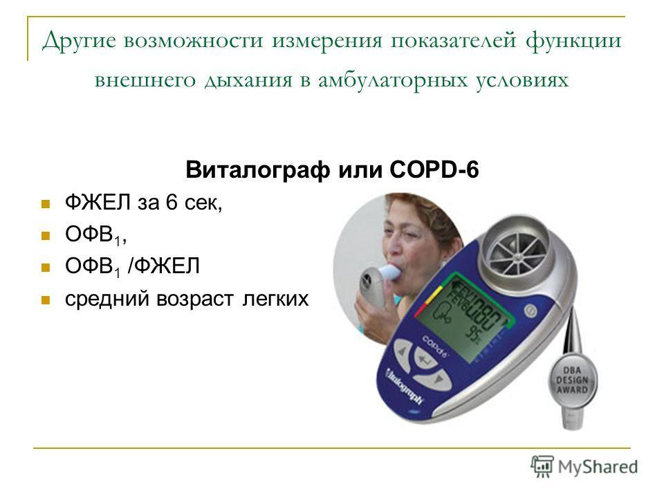 Другие возможности измерения показателей функции внешнего дыхания в амбулаторных условиях Виталограф или COPD-6 ФЖЕЛ за 6 сек, ОФВ 1, ОФВ 1 /ФЖЕЛ средний возраст легких