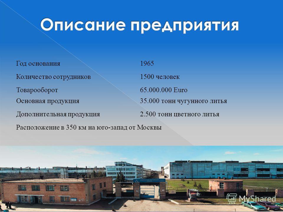 Год основания 1965 Количество сотрудников 1500 человек Товарооборот 65.000.000 Euro Основная продукция 35.000 тонн чугунного литья Расположение в 350 км на юго-запад от Москвы Дополнительная продукция 2.500 тонн цветного литья