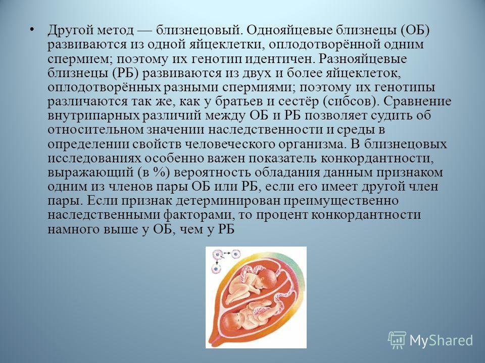 Другой метод близнецовый. Однояйцевые близнецы (ОБ) развиваются из одной яйцеклетки, оплодотворённой одним спермием; поэтому их генотип идентичен. Разнояйцевые близнецы (РБ) развиваются из двух и более яйцеклеток, оплодотворённых разными спермиями; п