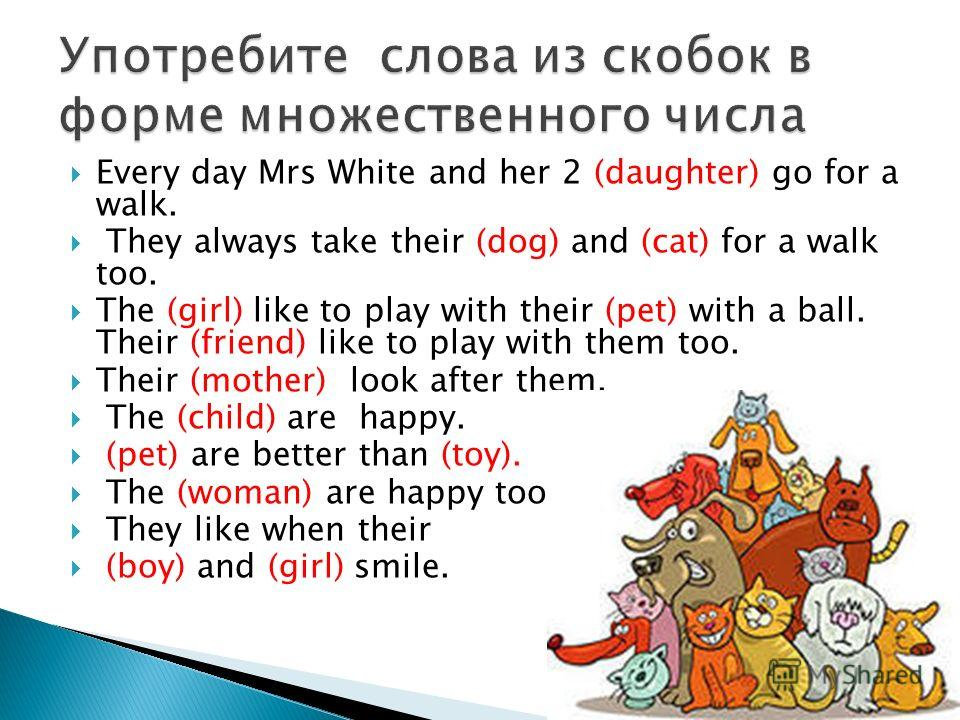Every day Mrs White and her 2 (daughter) go for a walk. They always take their (dog) and (cat) for a walk too. The (girl) like to play with their (pet) with a ball. Their (friend) like to play with them too. Their (mother) look after them. The (child