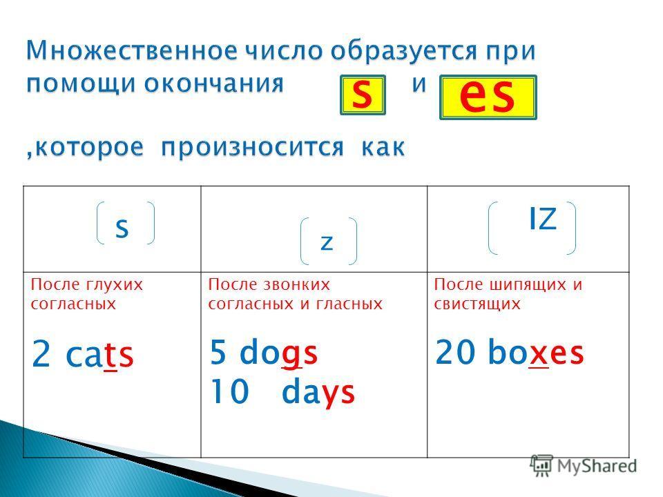 s z ı Ζ После глухих согласных 2 cats После звонких согласных и гласных 5 dogs 10 days После шипящих и свистящих 20 boxes s es