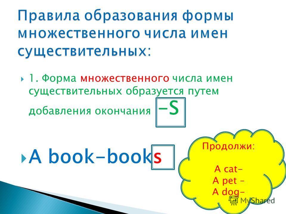1. Форма множественного числа имен существительных образуется путем добавления окончания -S A book-books Продолжи: A cat- A pet – A dog-