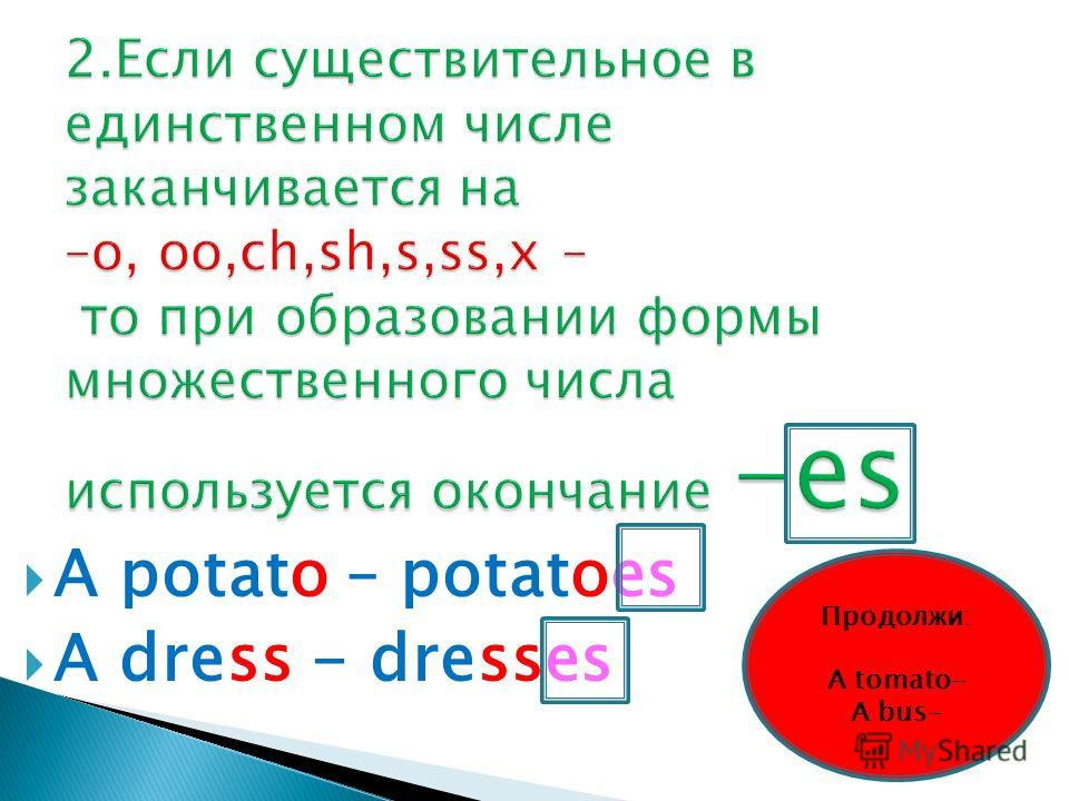 A potato – potatoes A dress - dresses Продолжи: A tomato- A bus-