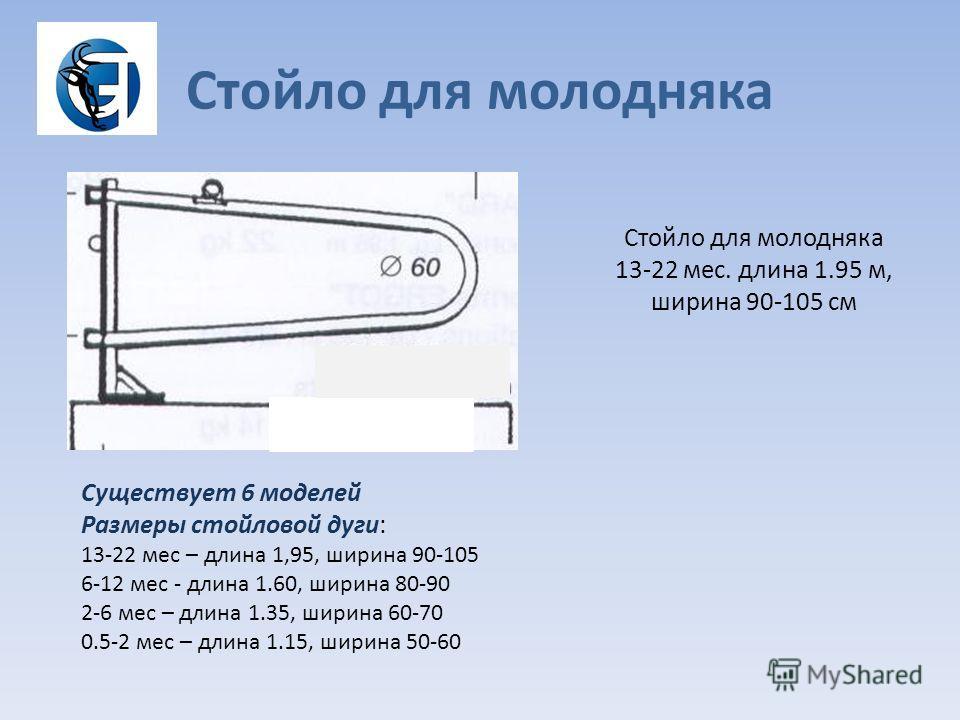 Стойло для молодняка Существует 6 моделей Размеры стойловой дуги: 13-22 мес – длина 1,95, ширина 90-105 6-12 мес - длина 1.60, ширина 80-90 2-6 мес – длина 1.35, ширина 60-70 0.5-2 мес – длина 1.15, ширина 50-60 Стойло для молодняка 13-22 мес. длина