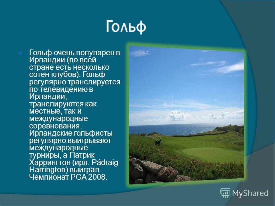 Гольф очень популярен в Ирландии (по всей стране есть несколько сотен клубов). Гольф регулярно транслируется по телевидению в Ирландии; транслируются как местные, так и международные соревнования. Ирландские гольфисты регулярно выигрывают международн