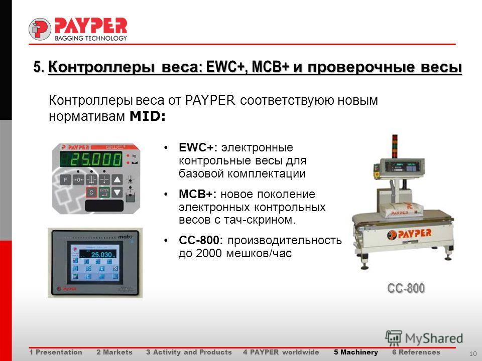 10 5. Контроллеры веса : EWC+, MCB+ и проверочные весы 5. Контроллеры веса : EWC+, MCB+ и проверочные весы EWC+: электронные контрольные весы для базовой комплектации MCB+: новое поколение электронных контрольных весов с тач-скрином. CC-800: производ