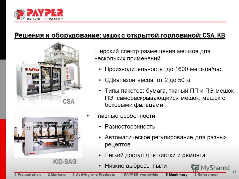 13 Решения и оборудование : мешок с открытой горловиной : CSA, KB Решения и оборудование : мешок с открытой горловиной : CSA, KB Широкий спектр размещения мешков для нескольких применений: Производительность: до 1600 мешков/час СДиапазон весов: от 2