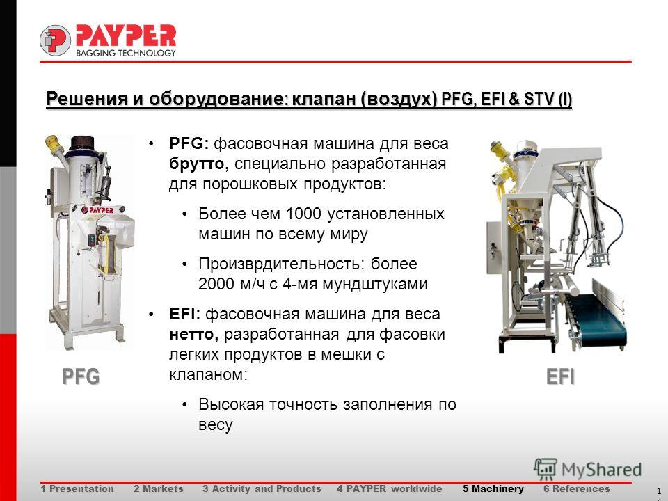 14 Решения и оборудование : клапан (воздух) PFG, EFI & STV (I) Решения и оборудование : клапан (воздух) PFG, EFI & STV (I) PFG: фасовочная машина для веса брутто, специально разработанная для порошковых продуктов: Более чем 1000 установленных машин п