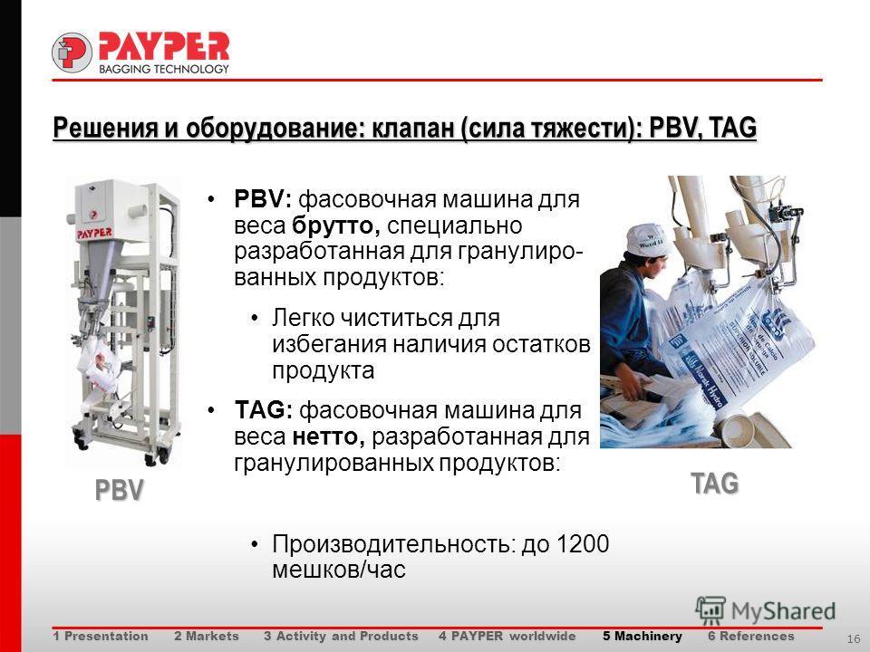 16 Решения и оборудование: клапан (сила тяжести): PBV, TAG Решения и оборудование: клапан (сила тяжести): PBV, TAG PBV: фасовочная машина для веса брутто, специально разработанная для гранулиро- ванных продуктов: Легко чиститься для избегания наличия