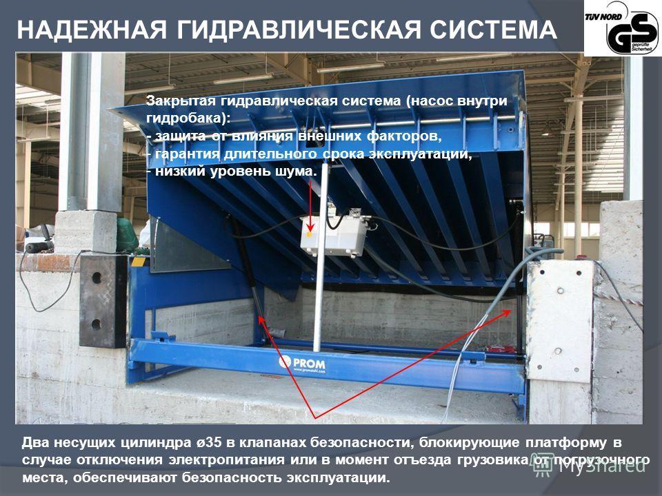Два несущих цилиндра ø35 в клапанах безопасности, блокирующие платформу в случае отключения электропитания или в момент отъезда грузовика от погрузочного места, обеспечивают безопасность эксплуатации. Закрытая гидравлическая система (насос внутри гид