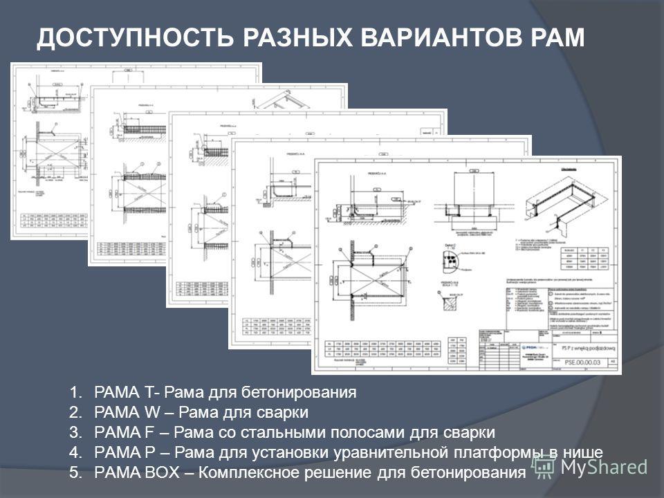 ДОСТУПНОСТЬ РАЗНЫХ ВАРИАНТОВ РАМ 1.РАМА T- Рама для бетонирования 2.РАМА W – Рама для сварки 3.РAMA F – Рама со стальными полосами для сварки 4.РAMA P – Рама для установки уравнительной платформы в нише 5.РAMA BOX – Комплексное решение для бетонирова