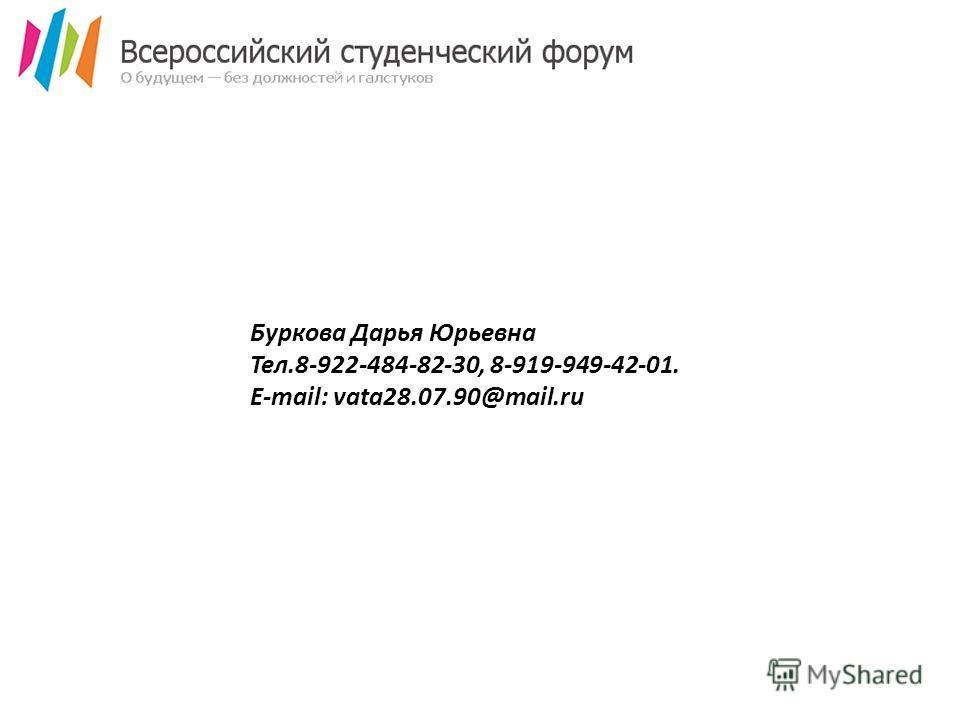 Буркова Дарья Юрьевна Тел.8-922-484-82-30, 8-919-949-42-01. E-mail: vata28.07.90@mail.ru