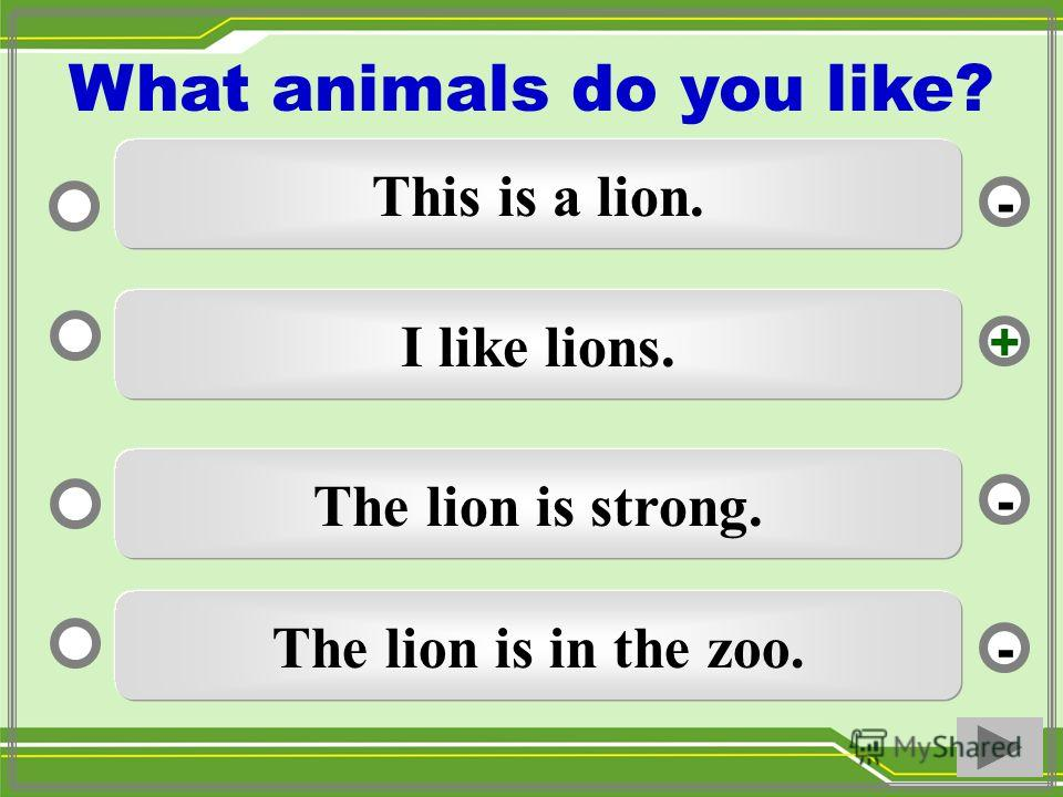 I like lions. The lion is strong. The lion is in the zoo. This is a lion. - - + - What animals do you like?