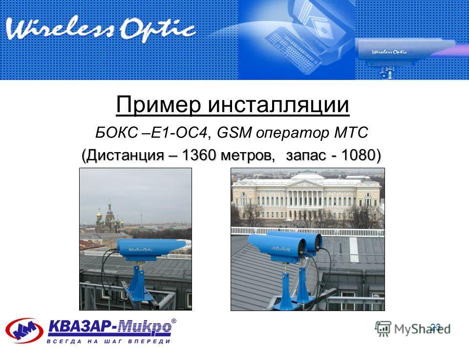 23 Пример инсталляции БОКС –Е1-ОС4, GSM оператор MTС (Дистанция – 1360 метров, запас - 1080)
