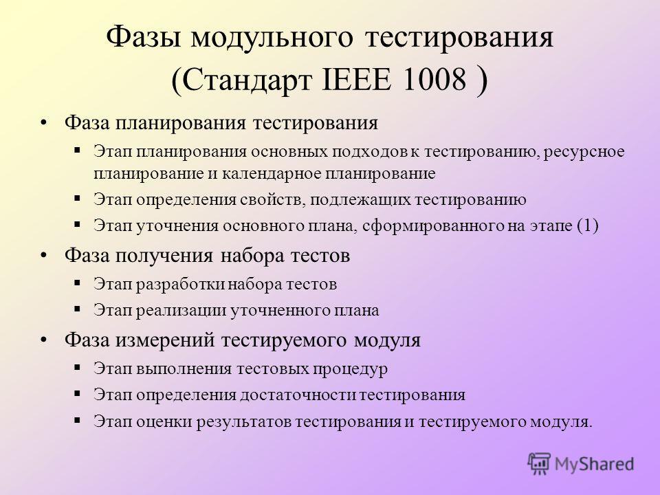 Фазы модульного тестирования (Стандарт IEEE 1008 ) Фаза планирования тестирования Этап планирования основных подходов к тестированию, ресурсное планирование и календарное планирование Этап определения свойств, подлежащих тестированию Этап уточнения о