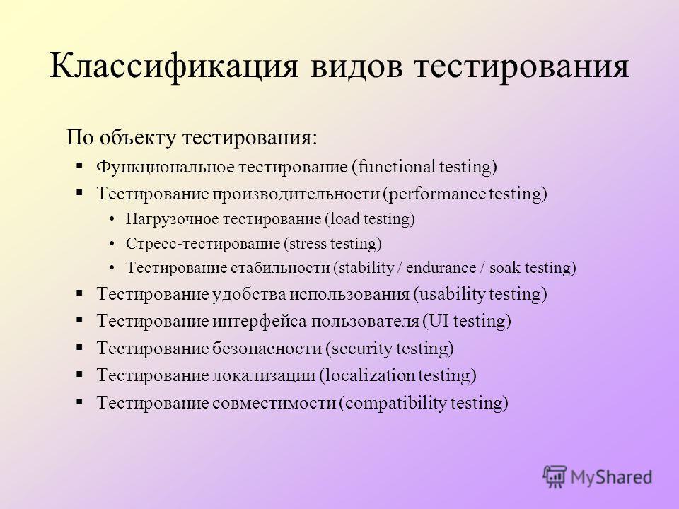 Классификация видов тестирования По объекту тестирования: Функциональное тестирование (functional testing) Тестирование производительности (performance testing) Нагрузочное тестирование (load testing) Стресс-тестирование (stress testing) Тестирование