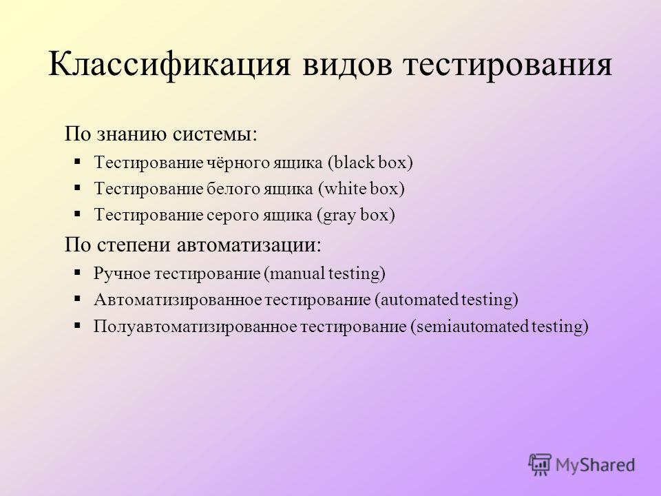 Классификация видов тестирования По знанию системы: Тестирование чёрного ящика (black box) Тестирование белого ящика (white box) Тестирование серого ящика (gray box) По степени автоматизации: Ручное тестирование (manual testing) Автоматизированное те