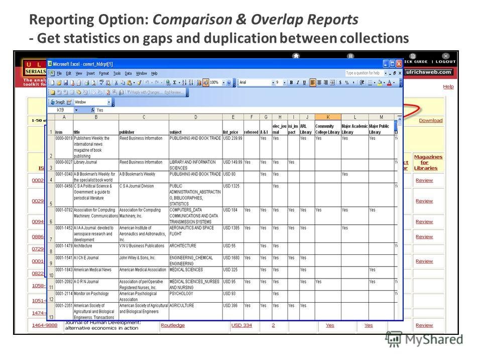 Reporting Option: Comparison & Overlap Reports - Get statistics on gaps and duplication between collections