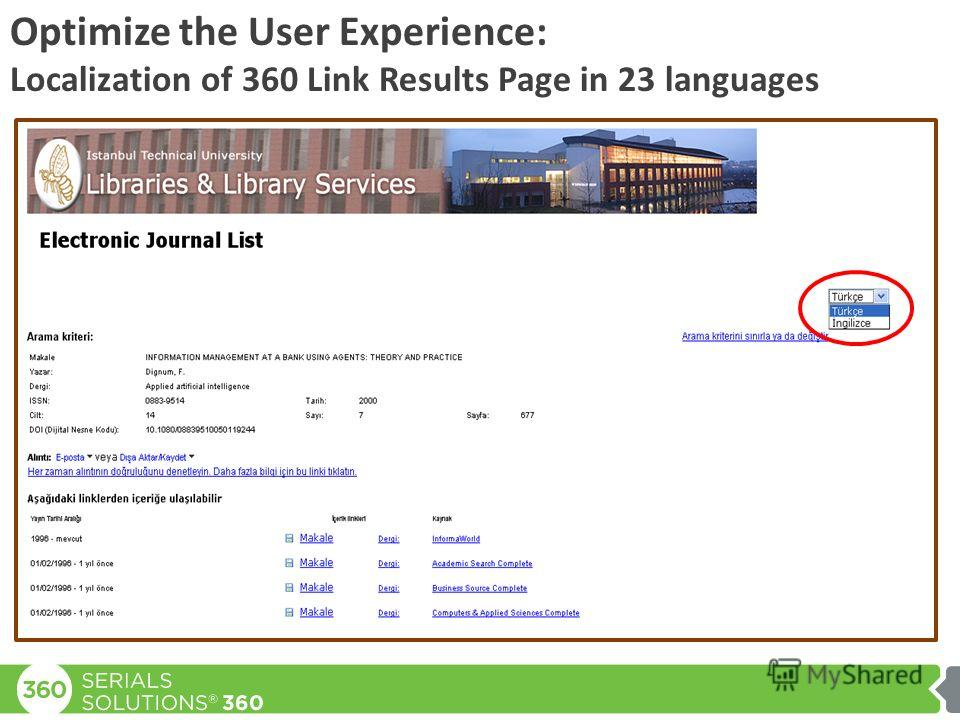Optimize the User Experience: Localization of 360 Link Results Page in 23 languages