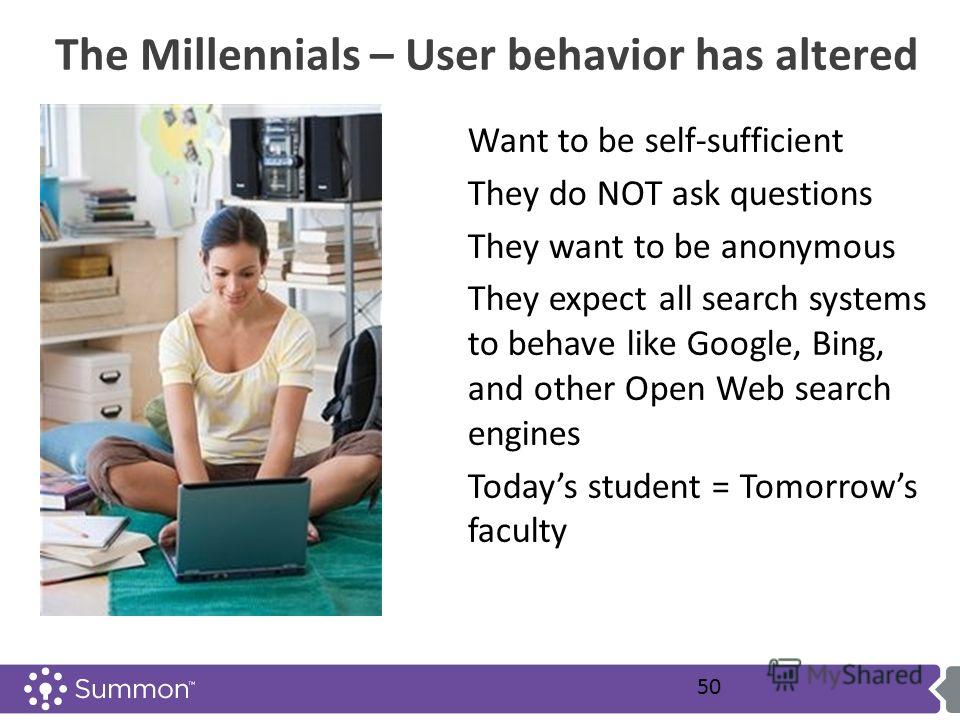 The Millennials – User behavior has altered Want to be self-sufficient They do NOT ask questions They want to be anonymous They expect all search systems to behave like Google, Bing, and other Open Web search engines Todays student = Tomorrows facult