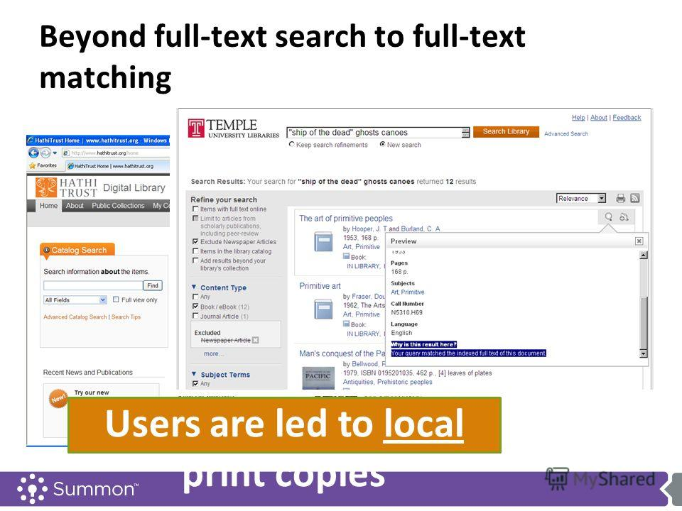 Beyond full-text search to full-text matching Users are led to local print copies