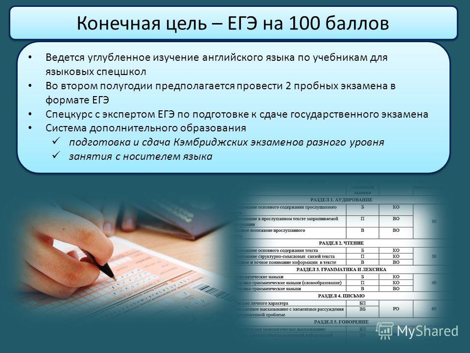 Конечная цель – ЕГЭ на 100 баллов Ведется углубленное изучение английского языка по учебникам для языковых спецшкол Во втором полугодии предполагается провести 2 пробных экзамена в формате ЕГЭ Спецкурс с экспертом ЕГЭ по подготовке к сдаче государств
