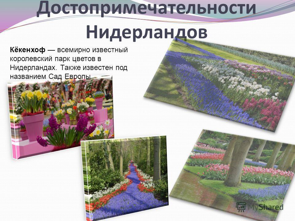 Достопримечательности Нидерландов Кёкенхоф всемирно известный королевский парк цветов в Нидерландах. Также известен под названием Сад Европы