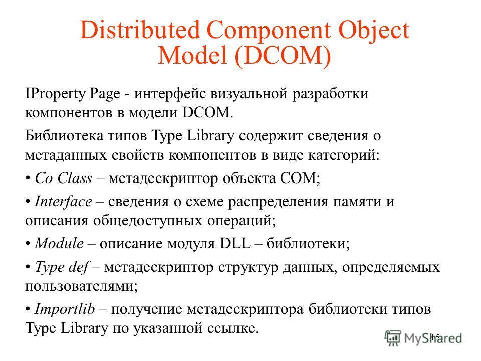 Distributed Component Object Model (DCOM) IProperty Page - интерфейс визуальной разработки компонентов в модели DCOM. Библиотека типов Type Library содержит сведения о метаданных свойств компонентов в виде категорий: Co Class – метадескриптор объекта