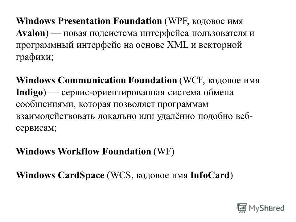 Windows Presentation Foundation (WPF, кодовое имя Avalon) новая подсистема интерфейса пользователя и программный интерфейс на основе XML и векторной графики; Windows Communication Foundation (WCF, кодовое имя Indigo) сервис-ориентированная система об