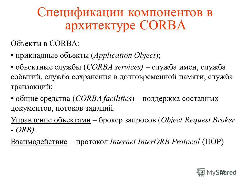 Спецификации компонентов в архитектуре CORBA Объекты в CORBA: прикладные объекты (Application Object); объектные службы (CORBA services) – служба имен, служба событий, служба сохранения в долговременной памяти, служба транзакций; общие средства (CORB