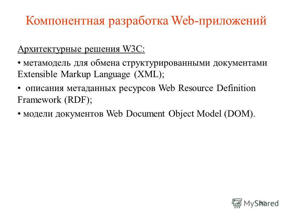 Компонентная разработка Web-приложений Архитектурные решения W3C: метамодель для обмена структурированными документами Extensible Markup Language (XML); описания метаданных ресурсов Web Resource Definition Framework (RDF); модели документов Web Docum
