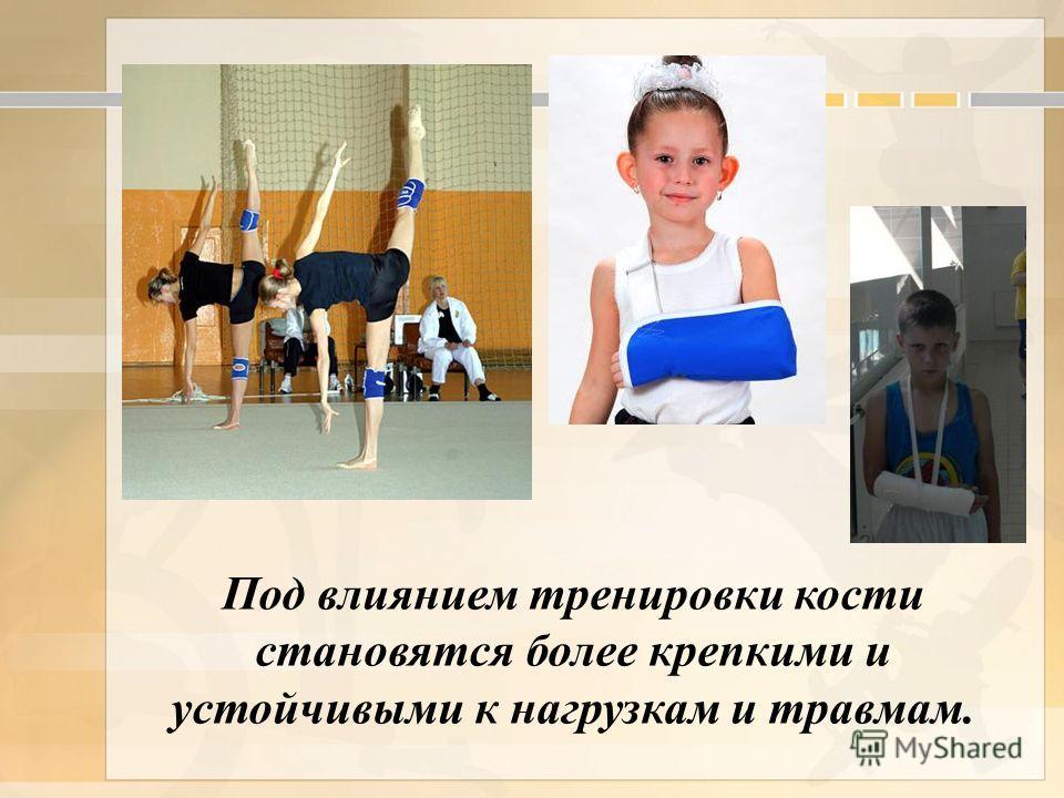 Под влиянием тренировки кости становятся более крепкими и устойчивыми к нагрузкам и травмам.