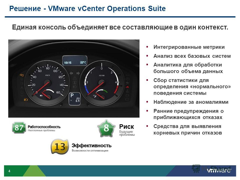 4 Решение - VMware vCenter Operations Suite Единая консоль объединяет все составляющие в один контекст. Интегрированные метрики Анализ всех базовых систем Аналитика для обработки большого объема данных Сбор статистики для определения «нормального» по