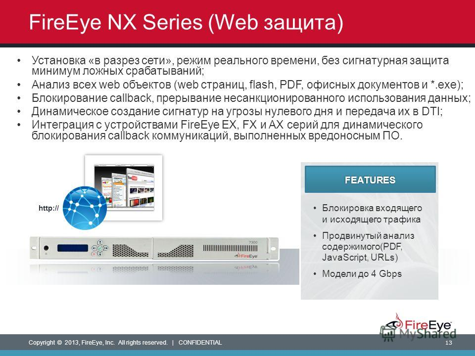 Copyright © 2013, FireEye, Inc. All rights reserved. | CONFIDENTIAL 13 Блокировка входящего и исходящего трафика Продвинутый анализ содержимого(PDF, JavaScript, URLs) Модели до 4 Gbps FEATURES FireEye NX Series (Web защита) Установка «в разрез сети»,